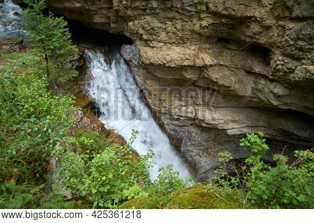 Johnston Canyon Falls Banff National Park Canada. One Of The Many Waterfalls In Johnston Canyon, Ban