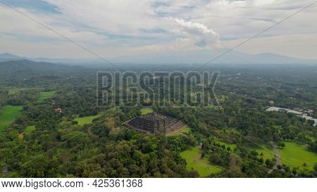 Aerial View Of The Magnificent Borobudur Temple. The World's Largest Buddhist Monument, In Central J