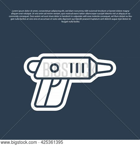 Blue Line Electric Cordless Screwdriver Icon Isolated On Blue Background. Electric Drill Machine. Re