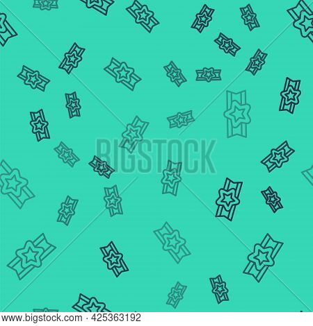 Black Line Star American Military Icon Isolated Seamless Pattern On Green Background. Military Badge