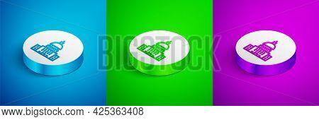 Isometric Line White House Icon Isolated On Blue, Green And Purple Background. Washington Dc. White