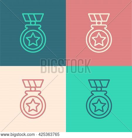 Pop Art Line Medal With Star Icon Isolated On Color Background. Winner Achievement Sign. Award Medal