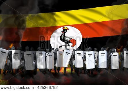 Uganda Police Swat In Heavy Smoke And Fire Protecting Law Against Demonstration - Protest Stopping C