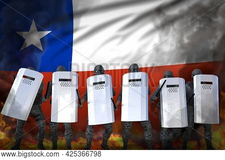 Chile Protest Fighting Concept, Police Officers Protecting Law Against Demonstration - Military 3d I