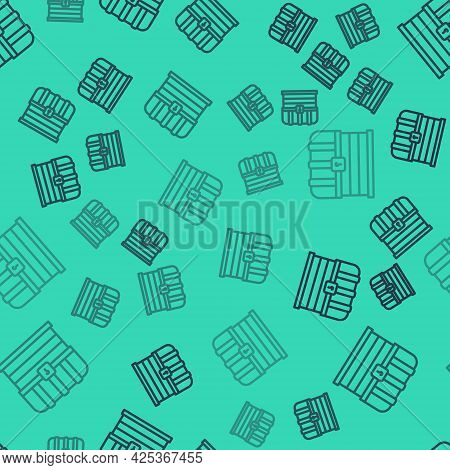 Black Line Antique Treasure Chest Icon Isolated Seamless Pattern On Green Background. Vintage Wooden