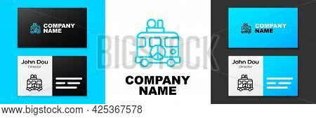 Blue Line Hippie Camper Van Icon Isolated On White Background. Travel By Vintage Bus. Tourism, Summe