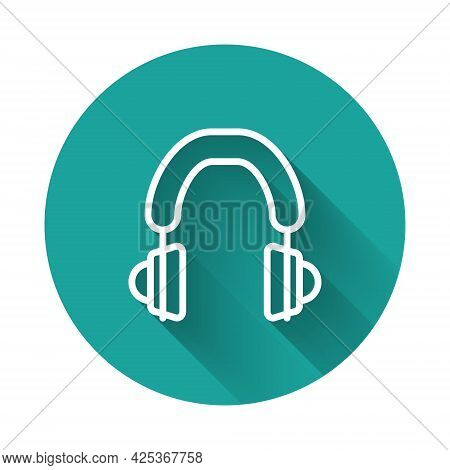 White Line Headphones Icon Isolated With Long Shadow Background. Earphones. Concept For Listening To