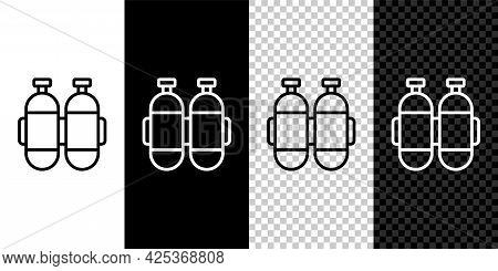 Set Line Aqualung Icon Isolated On Black And White, Transparent Background. Oxygen Tank For Diver. D