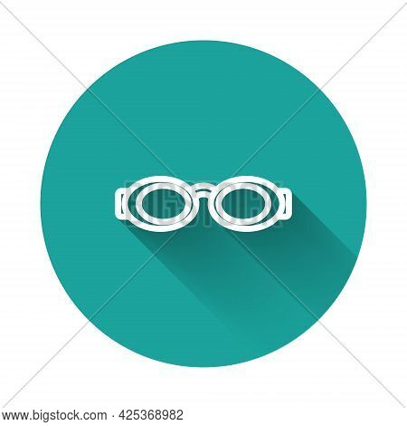 White Line Glasses For Swimming Icon Isolated With Long Shadow Background. Swimming Goggles. Diving