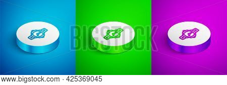 Isometric Line Diving Watch Icon Isolated On Blue, Green And Purple Background. Diving Underwater Eq
