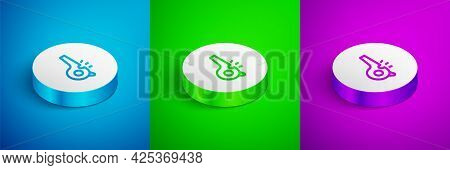 Isometric Line Whistle Icon Isolated On Blue, Green And Purple Background. Referee Symbol. Fitness A