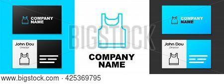 Blue Line Sleeveless Sport T-shirt Icon Isolated On White Background. Logo Design Template Element.