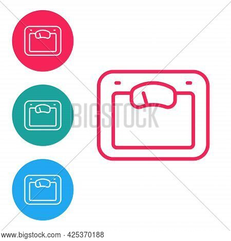 Red Line Bathroom Scales Icon Isolated On White Background. Weight Measure Equipment. Weight Scale F