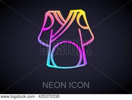 Glowing Neon Line Kimono Icon Isolated On Black Background. Chinese, Japanese, Korean, Vietnamese We