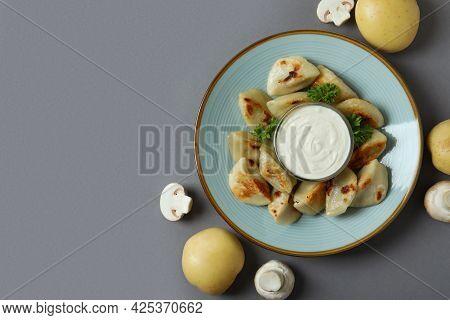 Concept Of Tasty Food With Vareniki Or Pierogi