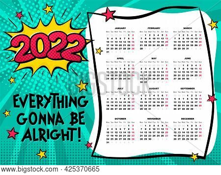 Bright Calendar Template In Pop Art. 2022 Yearly Cartoon Calendar. 12 Months Yearly Comic Set In 202