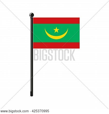 National Flag Of Mauritania In The Original Colours And On The Stick