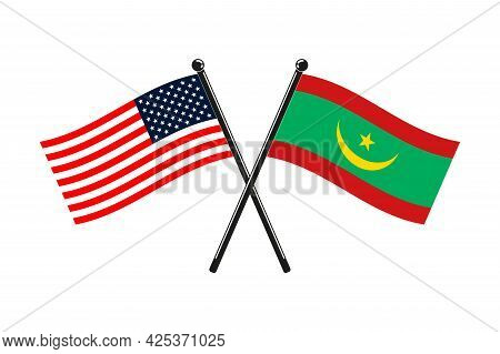 National Flags Of Mauritania And Usa Crossed On The Sticks In The Original Colours