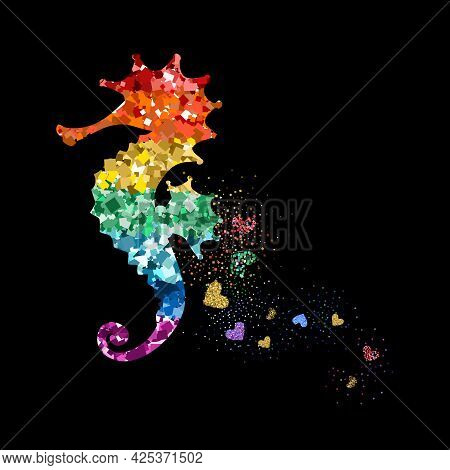 Rainbow Colors Glittering Seahorse With Hearts. Beautiful Colorful Silhouettes On Black Background F