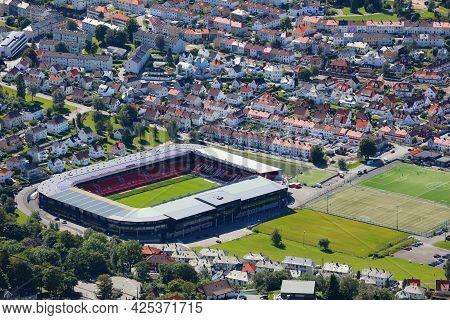 Bergen, Norway - July 23, 2020: Brann Bergen Football Team Stadium In Norway. Bergen Is The 2nd Larg