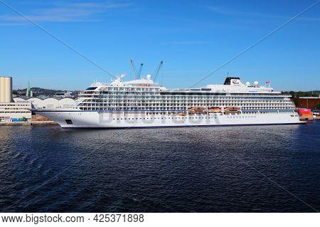 Kristiansand, Norway - July 31, 2020: Viking Jupiter Cruise Ship In Kristiansand Harbor, Norway. The