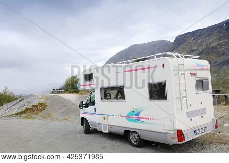 Jotunheimen, Norway - July 29, 2020: Camper Vacation In Sognefjellet Mountains, Norway. Norway Had 8