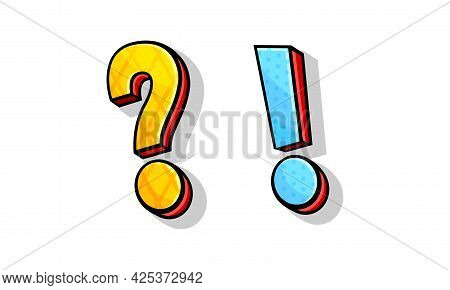 Bright Interrogation And Exclamation Mark As Punctuation Vector Set