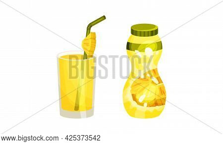Pineapple Exotic Drink Poured In Bottle And Glass With Straw Vector Set