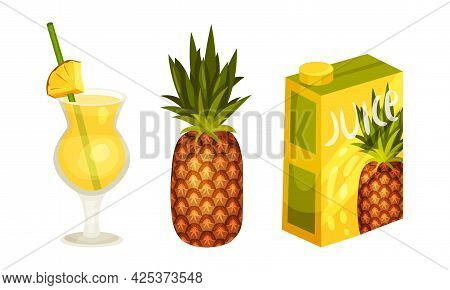Pineapple Exotic Drink Poured In Carton And Glass With Straw Vector Set