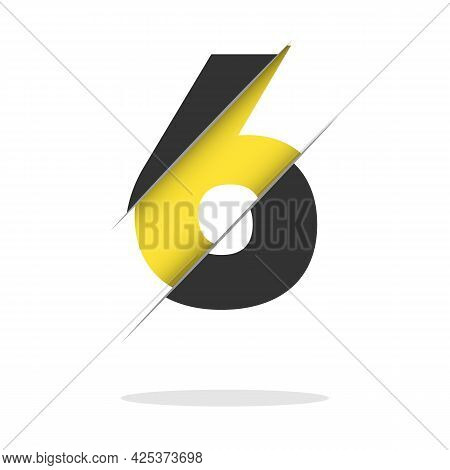 Paper Cut Number Six Letter. Realistic 3d Multi Layers Papercut Effect Isolated On White Background.