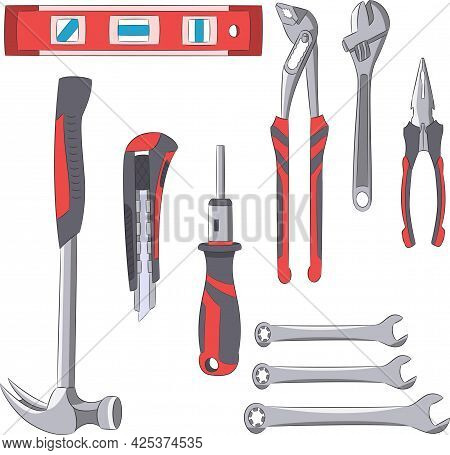 A Set Of Construction Tools For Plumbing Work. Vector.