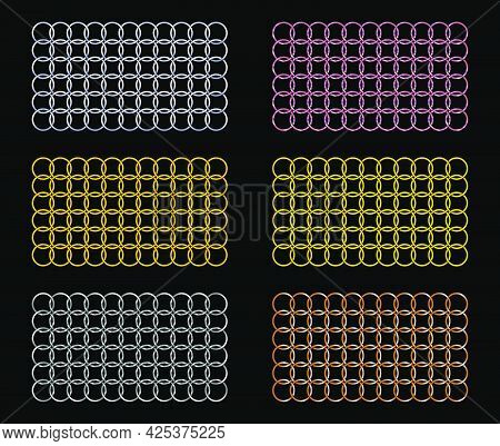 Set Of Vector Metal Weaving Patterns. Weaving Circles, Rhombuses, Squares. Abstract Background.