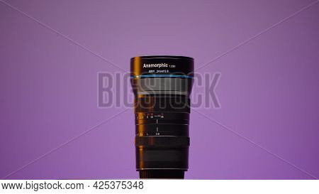 Russia, Moscow - May 5, 2021: Wide-angle Lens For Cameras. Action. Wide-angle Anamorphic Lens For Mi