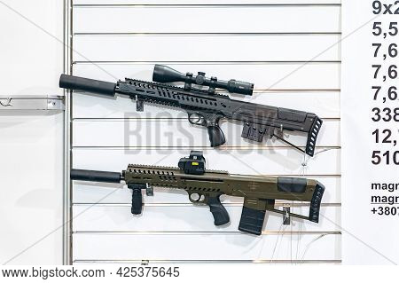 Automatic Rifles. Stand With Ukrainian-made Automatic Rifles At The International Exhibition Arms An