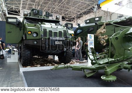 Military Armored Vehicle. An Armored Car On Display At The International Exhibition Arms And Securit