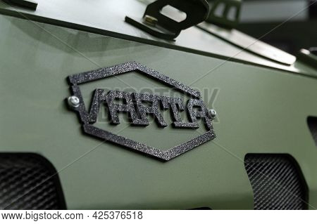 Varta Armored Vehicle Logo. Close-up Of The Varta Armored Car Logo On Display At The International E