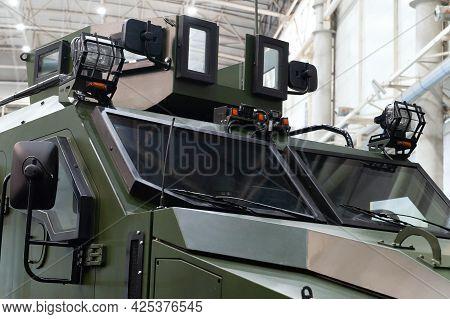 Armored Vehicle Varta. Bulletproof Windshield Of The Varta Armored Vehicle On Display At The Interna