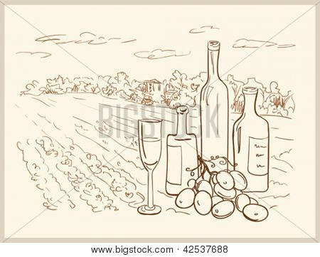 Hand drawn vineyard with bottles of wine.