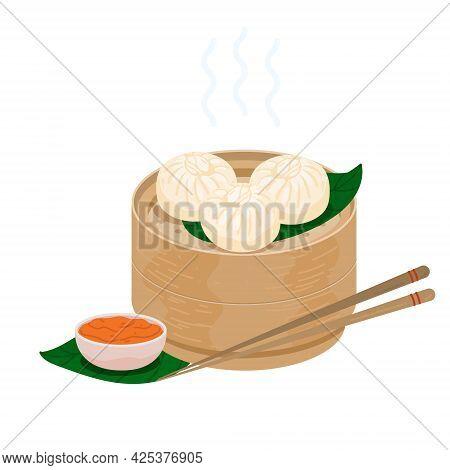 Baozi Steamed Chinese Buns . Momo Dumplings In A Bamboo Wooden Steamer Basket. Vector Illustration O