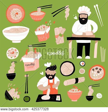 Ramen Doodle Set. Various Hand-drawn Bowl Of Chinese Egg Noodles. Asian Food With Cook Chief. Vector