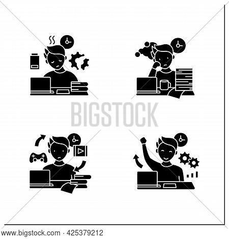 Procrastination Glyph Icons Set. Fatigue, Work Procrastinating, Habits, Overcome Procrastination. Ov
