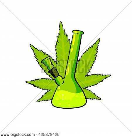 Bong For Smoking Tobacco And Marijuana. Drug Dependence. Glass Bottle For Cannabis. Green Leaf Of Pl