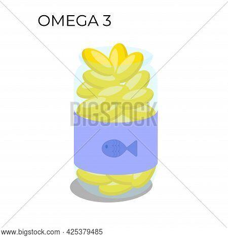 A Bottle Of Fish Oil Capsules. Flat Vector Illustration Of Omega 3 Supplement.