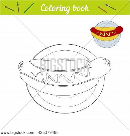 Hot Dog On A Plate. Simple Coloring Book For Children. Black And White Cartoon Illustration And Colo
