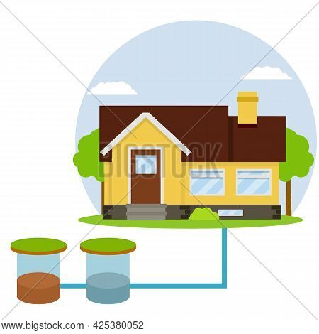Scheme External Network Of Suburban Home Sewage Treatment System. House With Brown Roof. Cartoon Fla