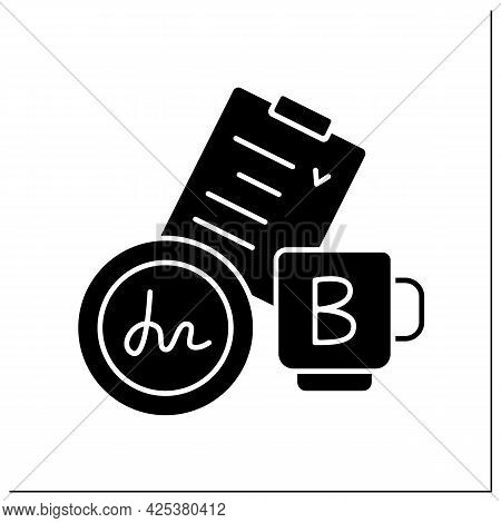 Agreement Glyph Icon. Checklist. Register Company, Documentation With Sign And Seal. Business Paper.
