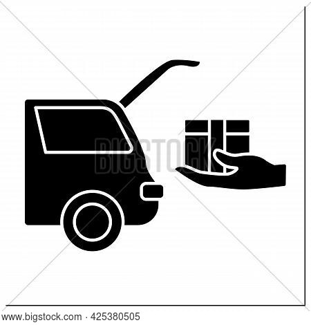 Curbside Pickup Glyph Icon. Shipping Parcel Into Car Trunk. Store Associate Brings Pickup Order. Con