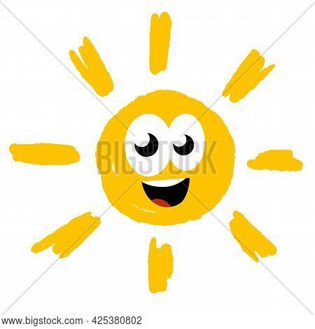 Hand-drawn Sun. Element Of Summer And Nature. Yellow Warm Object. Cartoon Illustration. Children's D