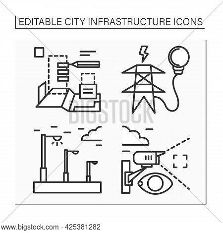 City Infrastructure Line Icons Set. Planning City, Video Surveillance, Street Lightning, Electricity