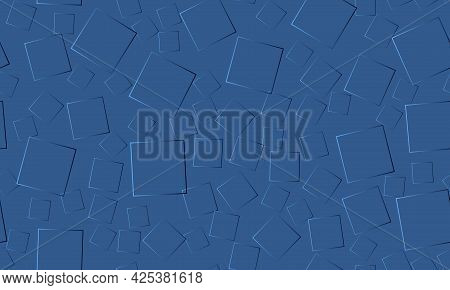 Blue 3d Horizontal Seamless Pattern With Gradient Square Shapes. Elegant Blue Vector Seamless Backgr